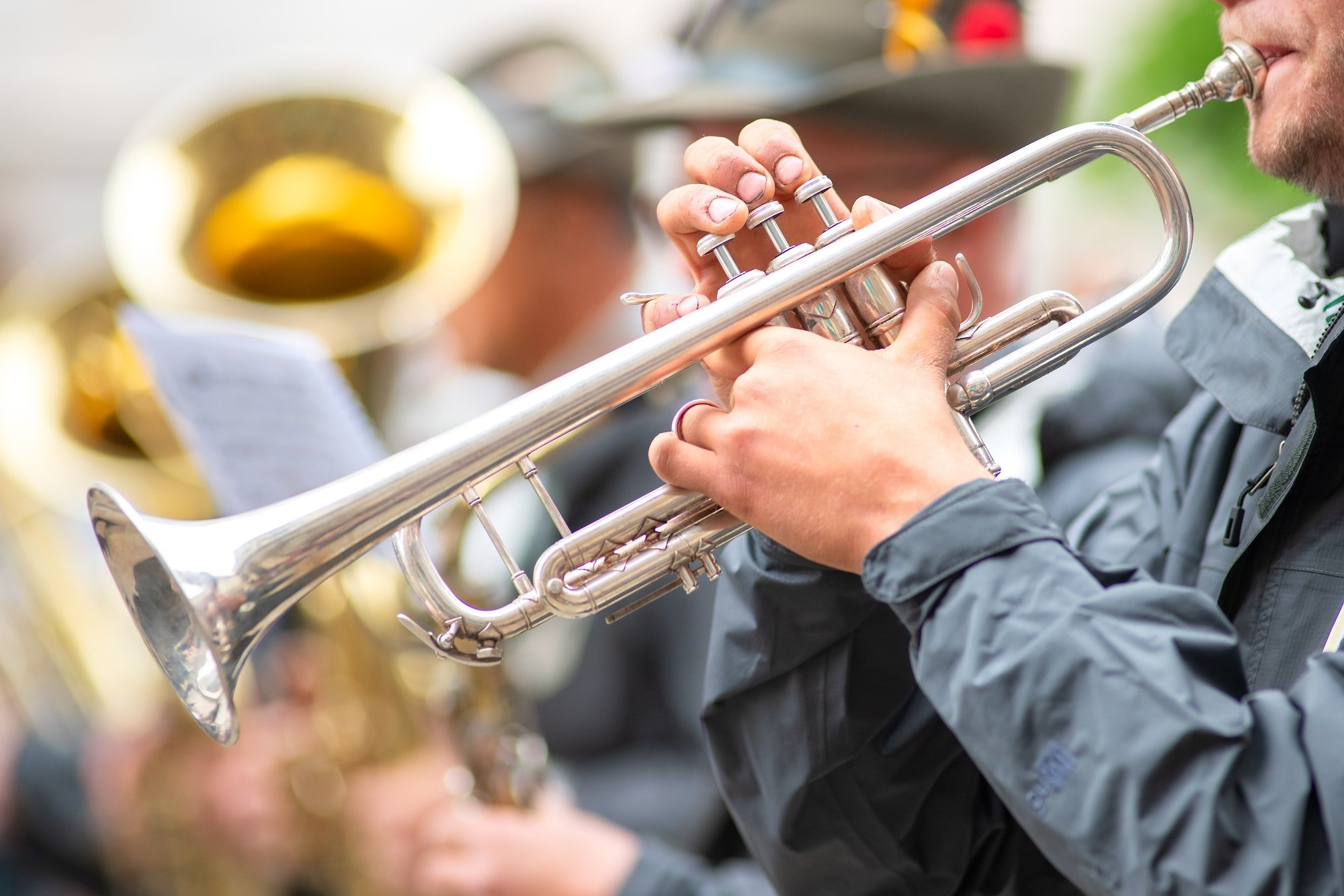 Trumpet player in military fanfare